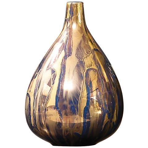"""Fingerprint Small 9""""H Golden Blue Ceramic Metallic Vase"""