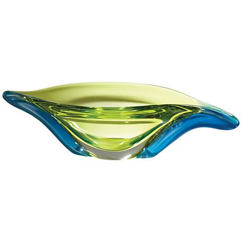 Swish Aqua Blue Cool Lime Art Glass Abstract Serving Bowl