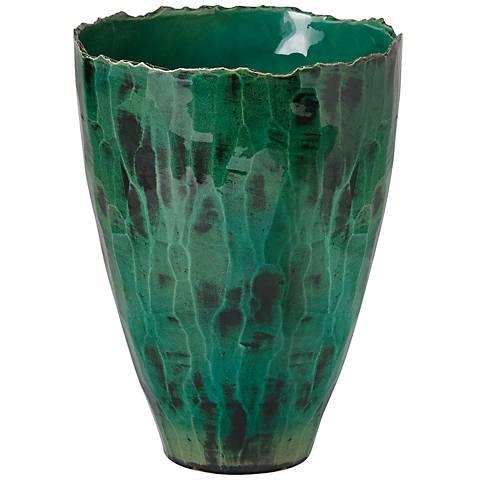 "Esmeralda Reactive Green 15"" High Mediterranean Vase"