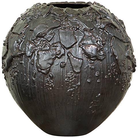 "Camada Gray 17"" High Portuguese Textured Ceramic Vessel"