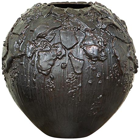 "Camada Gray 17"" High Portuguese Textured Ceramic Vessel"