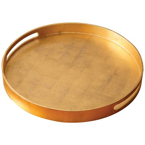 "Nouveau Luxe 20 3/4""W Large Gold Leaf Round Serving Tray"