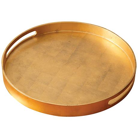 """Nouveau Luxe 20 3/4""""W Large Gold Leaf Round Serving Tray"""