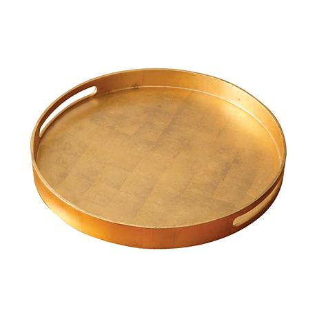 """Nouveau Luxe 15 3/4""""W Small Gold Leaf Round Serving Tray"""
