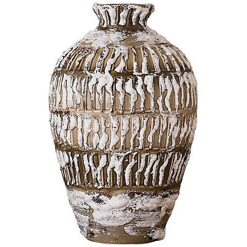 """Vesuvius 13 1/4""""H Volcanic Antique White Ceramic Jug Vase"""