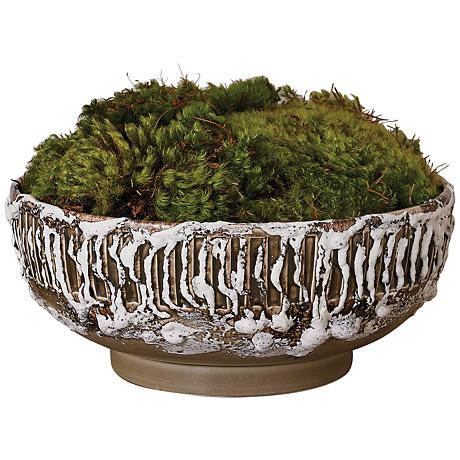 Vesuvius Volcanic Antique White Textured Serving Bowl