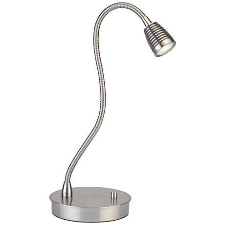 TaskWerx Brushed Steel Flexible Gooseneck LED Task Desk Lamp