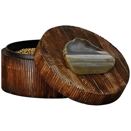 Amulet Large Brown Buffalo Bone Round Box with Agate Lid