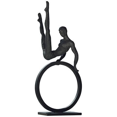 """Gymnast on Ring 25"""" High Dark Bronze Tabletop Sculpture"""