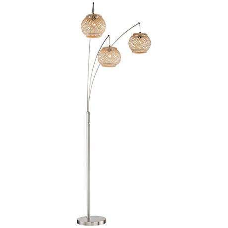Lite Source Evangeline Rattan 3-Light Arc Floor Lamp