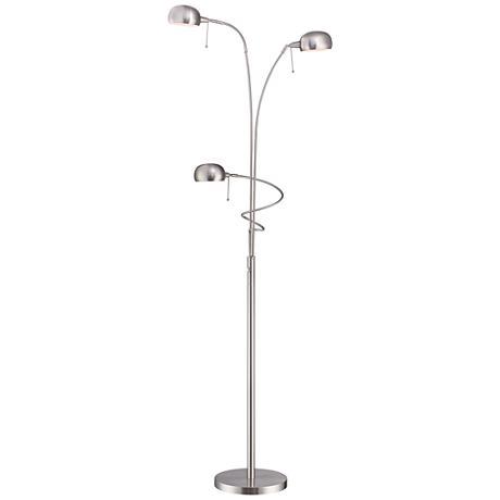 Lite source denzel steel 3 light reading arc floor lamp for 3 light steel floor lamp