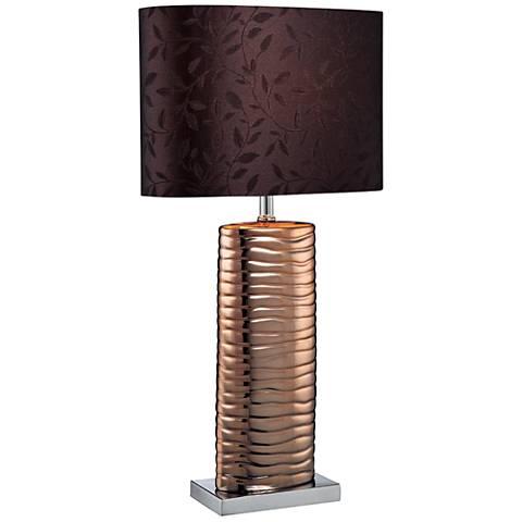 Lite Source Fantino Wavy Ridge Copper Column Table Lamp