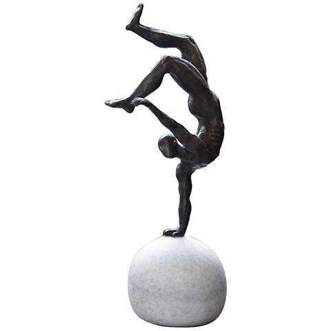"One-Hand Balancing Act 18 1/4""H Iron Gymnast Sculpture"