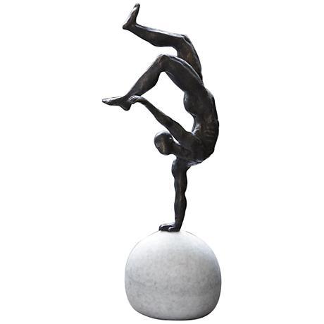 "One-Hand Balancing Act 18 1/4""H Iron Gymnast Sculpture"