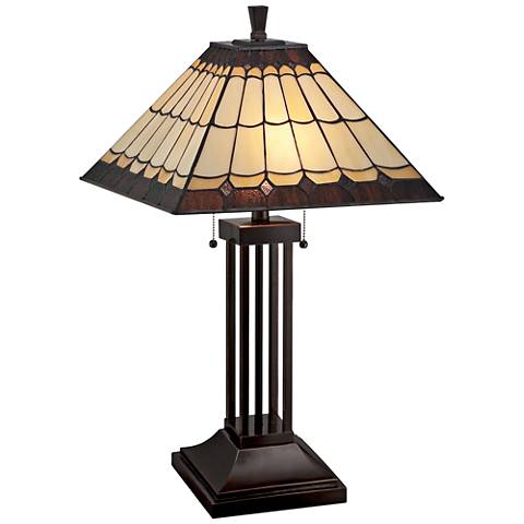Lite Source Arty Dark Bronze Tiffany Style Table Lamp