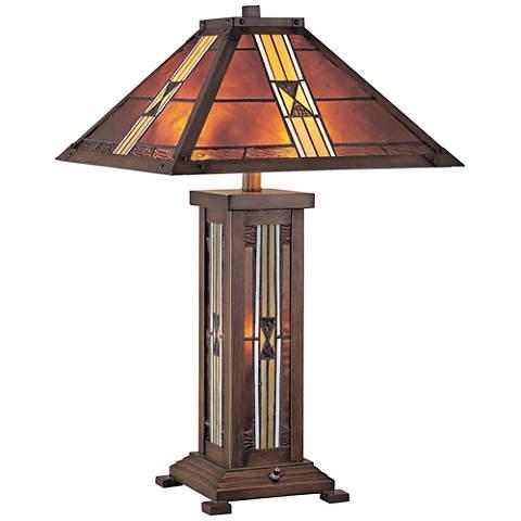 Lite Source Farah Bronze Nightlight Art Glass Table Lamp