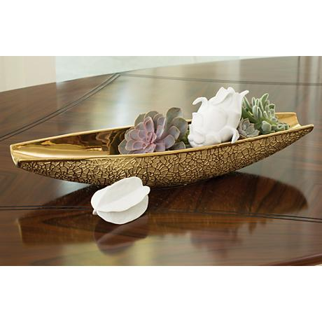 """Organic Lace 24""""W Electroplated Gold Textured Bowl Vase"""