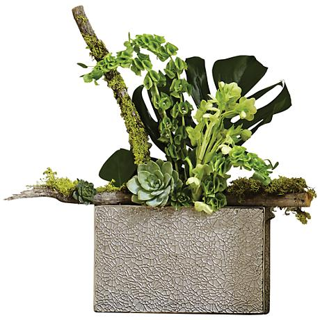 """Organic Lace 16""""W Electroplated Silver Textured Vase"""