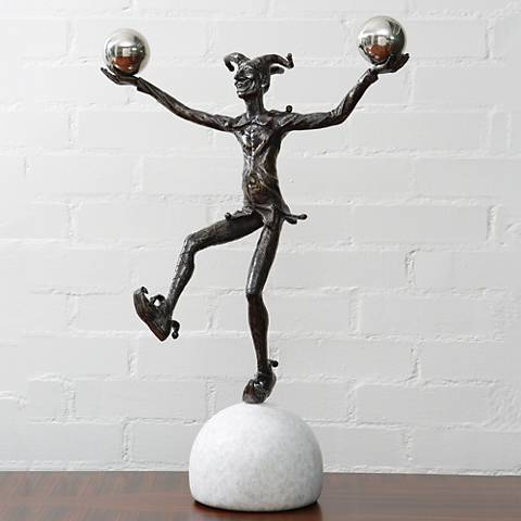 "Juggling Jester 22 1/2"" High Bronze Figurative Sculpture"