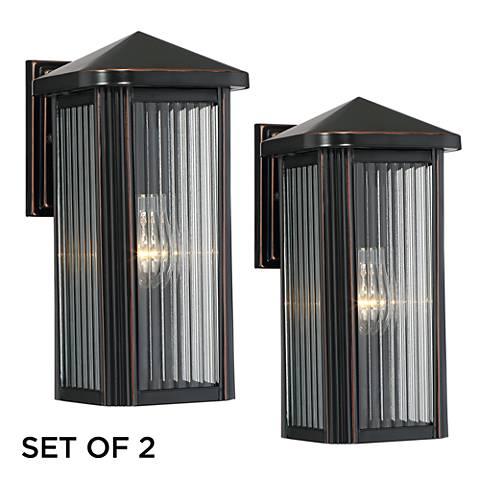 """Set of 2 Burton 12 1/2"""" High Bronze Outdoor Wall Lights"""