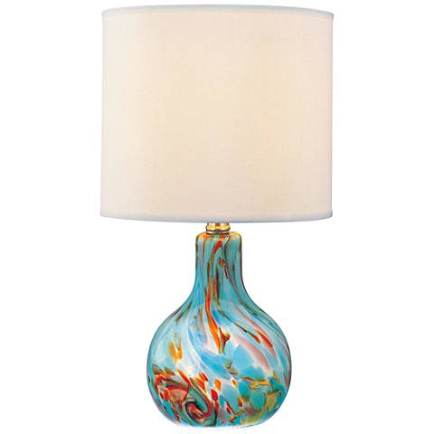 "Lite Source 14 1/2"" High Pepita Aqua Glass Accent Table Lamp"