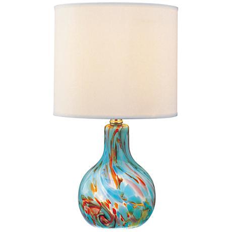Lite Source Pepita Aqua Glass Multi Color Table Lamp