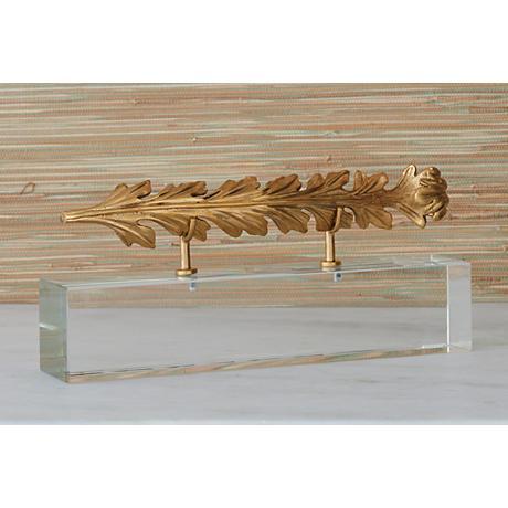 "Horizontal Scroll Fragment 14"" Wide Gold Accent Sculpture"