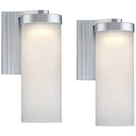 "Set of 2 Cleo 10 1/2"" High Silver LED Outdoor Wall Lights"