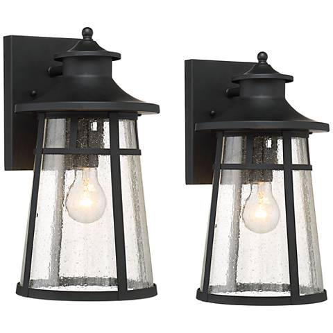 """Black Outdoor Wall Light set of 2 mosconi 15"""" high black outdoor wall lights - #1n896"""