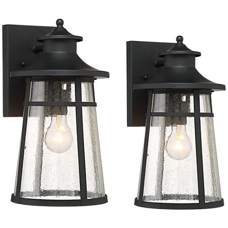 "Set of 2 Clement 15"" High Black Outdoor Wall Lights"