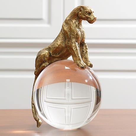"Jaguar On Crystal Ball 9 3/4"" High Gold Animal Sculpture"