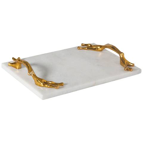 "Twig 12""W Solid Brass Handle Small Marble Serving Tray"
