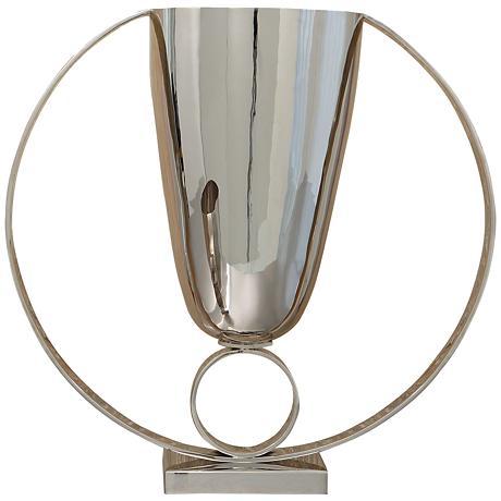 """Trophy 11 3/4""""W Nickel Plated 2-Ring Steel Cup Vase"""