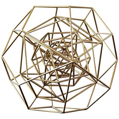 "Geo 18 1/4""W Large Molecular Gold Iron Tabletop Sculpture"