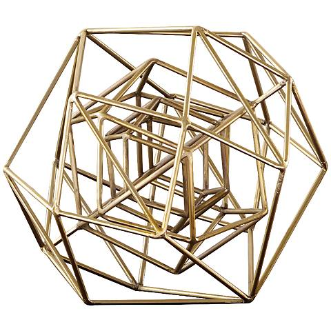 "Geo 14 1/4""W Small Molecular Gold Iron Tabletop Sculpture"