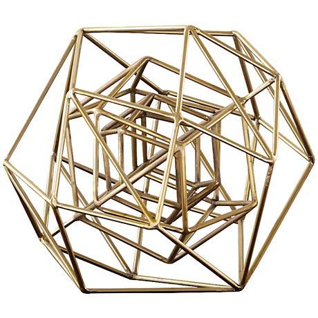 "Geo 14 1/4""W Small Molecular Gold Iron Tabletop Sculpture"