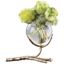 "Twig 8"" Wide Cast Brass Holder with Clear Glass Bud Vase"