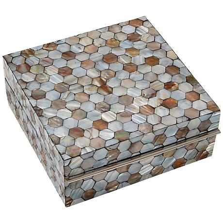Honeycomb Lacquered Mother of Pearl Large Trinket Box