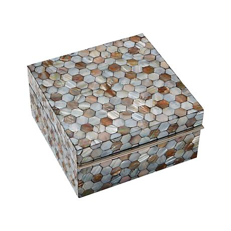 Honeycomb Lacquered Mother of Pearl Small Trinket Box