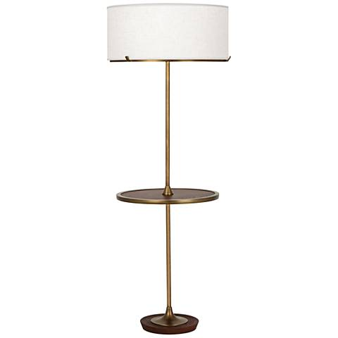 Robert Abbey Edwin Aged Brass Tray Table Floor Lamp