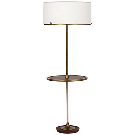 Robert Abbey Edwin Aged Brass Tray Table Floor Lamp