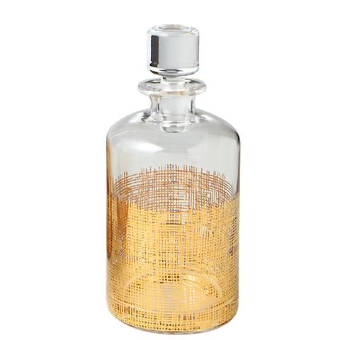 Crosshatch Gold Cylinder Clear Glass Decanter Barware