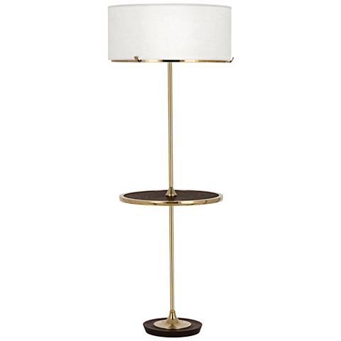 Robert Abbey Edwin Polished Brass Tray Table Floor Lamp