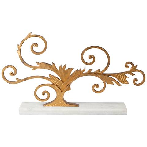 "Arbor Gold Scroll 26"" Wide Marble-Base Tabletop Sculpture"