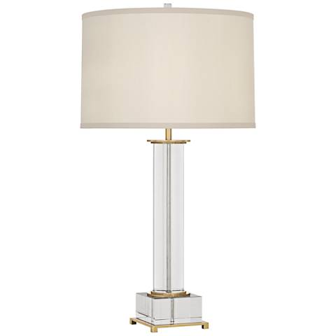 finnie antique brass and crystal table lamp 1n970. Black Bedroom Furniture Sets. Home Design Ideas