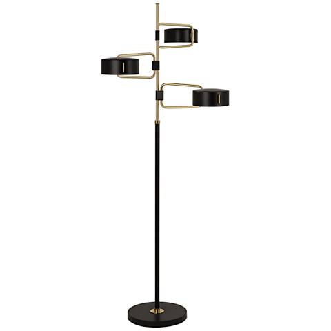 Simon Black and Brass 3-Light Floor Lamp by Robert Abbey
