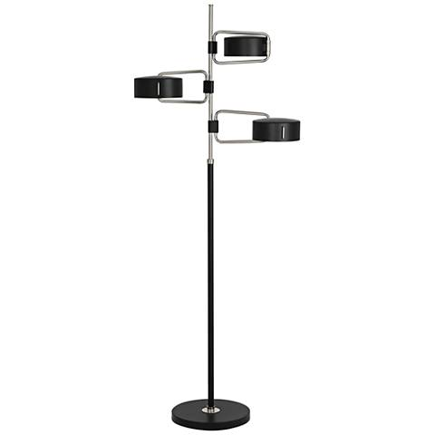 Robert Abbey Simon Polished Nickel Black 3-Light Floor Lamp