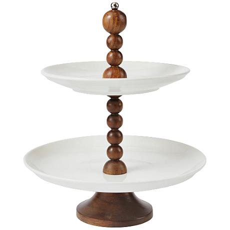 Maison Home Bezos White Porcelain Two-Tiered Stand