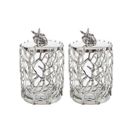 Maison Home Polished Nickel Abalone Jars Set of 2