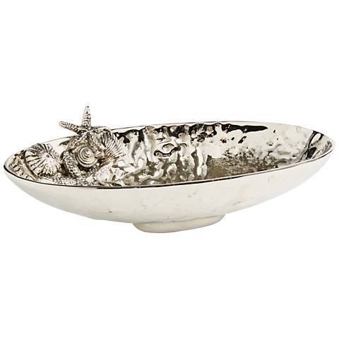 Maison Home Kirby Hammered Aluminum Decorative Oval Bowl